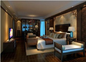 富力城中式风格案例中式卧室装修图片