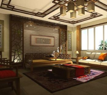 98平三居中式风格案例中式客厅装修图片