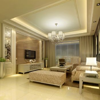 89平三居现代风格案例现代客厅装修图片