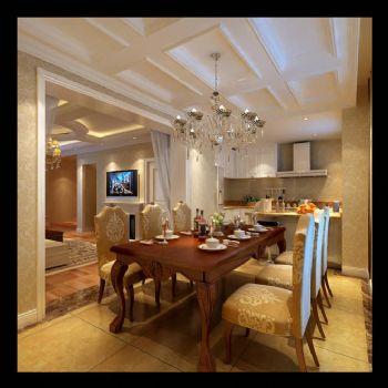 340平别墅欧式古典风格古典餐厅装修图片