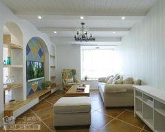 新城春天里103平地中海实景图地中海风格三居室