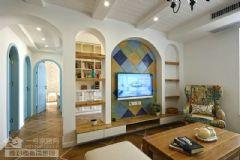 新城春天里103平地中海实景图地中海客厅装修图片