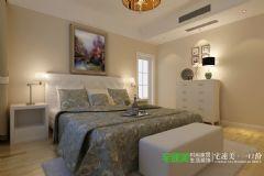 信达荷塘月色105平三室两厅简欧风格装修效果图欧式卧室装修图片