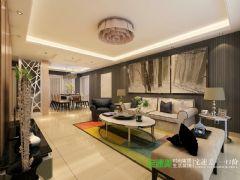 信达荷塘月色105平三室两厅简欧风格装修效果图欧式风格三居室