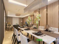 信达荷塘月色105平三室两厅简欧风格装修效果图欧式餐厅装修图片