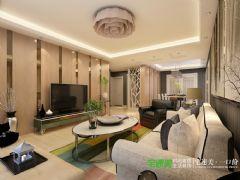 信达荷塘月色105平三室两厅简欧风格装修效果图欧式客厅装修图片