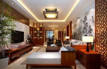 98平三居新中式风格案例中式客厅装修图片