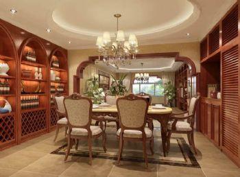 180平三居欧式古典风格案例欧式餐厅装修图片