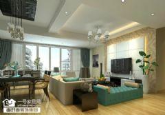 清江泓景96平现代简约效果图现代风格三居室