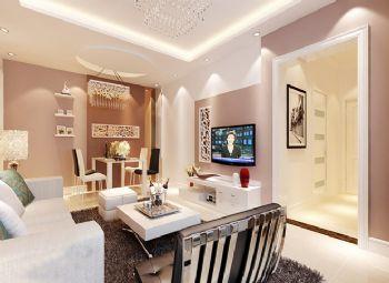 87平二居现代风现代客厅装修图片