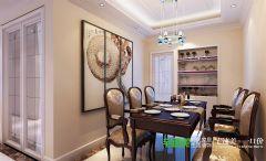 信达蓝湖郡两室两厅105平简欧风格装修效果图欧式餐厅装修图片