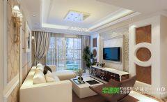信达蓝湖郡两室两厅105平简欧风格装修效果图欧式客厅装修图片
