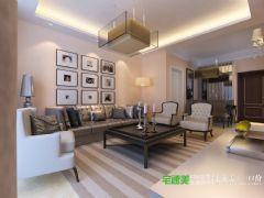 华强广场113平三室两厅简欧风格装修效果图欧式风格三居室