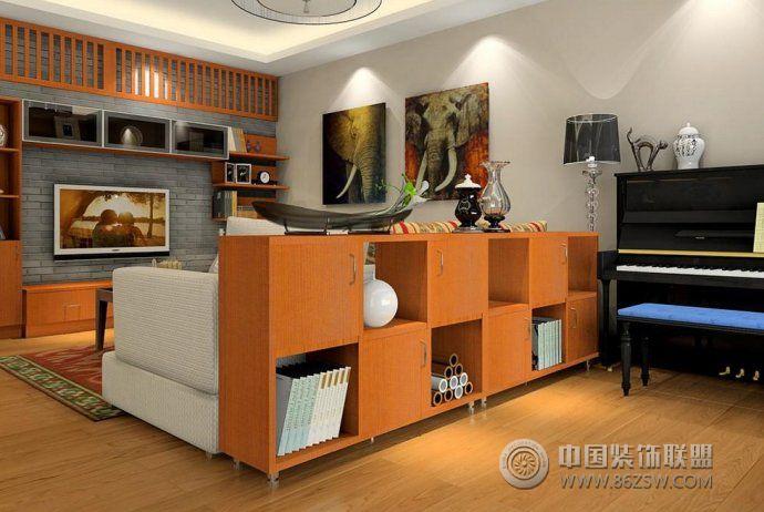 隔断柜设_现代大户型装修效果图_八六(中国)装饰联盟
