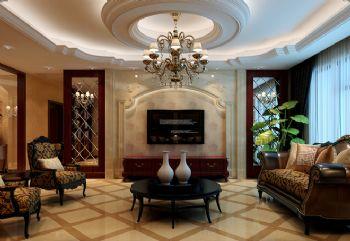 180平三居欧式古典风欧式客厅装修图片