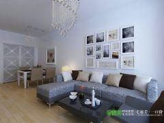 城市之光两室两厅87平现代风格现代风格小户型