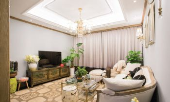 130平法式地中海风格装修案例地中海客厅装修图片