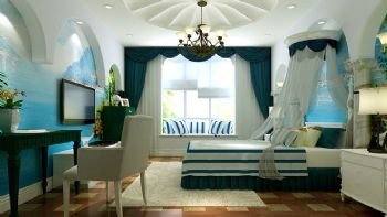95平三居地中海风设计效果图卧室装修图片