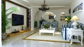 95平三居地中海风设计效果图客厅装修图片