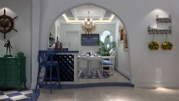 95平三居地中海风设计效果图餐厅装修图片