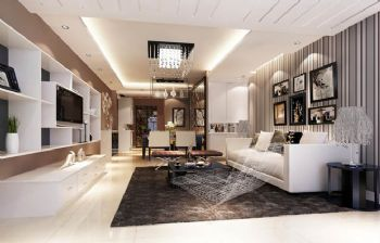95平三居现代风装修效果图现代客厅装修图片