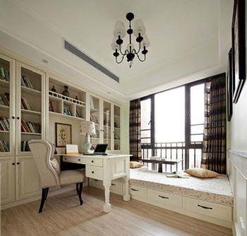 155平美式田园效果图美式书房装修图片