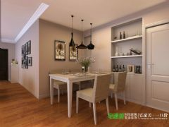 美加印象113平简约风格三居室案例简约餐厅装修图片