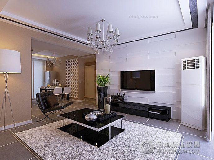 黑白电视背景墙设计图-客厅装修图片