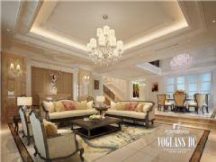 蔚蓝卡地亚(华阳)美式风格装修案例美式客厅装修图片
