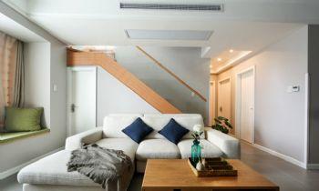 140平复式简约原木装修案例简约客厅装修图片