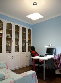91平简约风并不阳台改为榻榻米的装修案例简约书房装修图片
