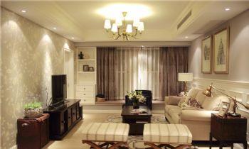95平美式二居装修案例美式客厅装修图片