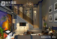 美式风格双层复式楼装修图片现代客厅装修图片