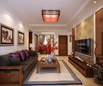 80平二居新中式风效果图中式客厅装修图片