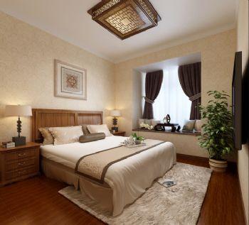 80平二居新中式风效果图中式卧室装修图片