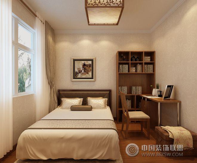 装修效果图 中式装修效果图 80平二居新中式风效果图  类型:家装 风格