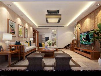 162平新中式四居装修案例中式客厅装修图片