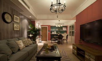 103平简约美式风格装修案例客厅装修图片