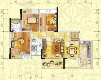 三居室户型图经典设计图客厅装修图片