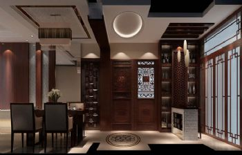 97平二居新中式风装修效果图中式餐厅装修图片
