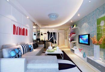 120平现代风大户型装修案例欣赏现代客厅装修图片