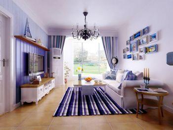 102平地中海现代风装修案例欣赏地中海客厅装修图片