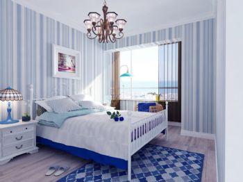 102平地中海现代风装修案例欣赏地中海卧室装修图片
