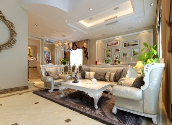 324平简欧风别墅案例欣赏简约客厅装修图片