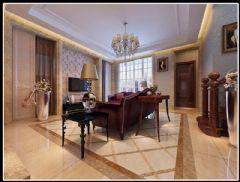 旭辉江湾墅联排别墅新古典主义风格设计案例古典客厅装修图片