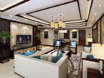 175平三居新中式风效果图中式客厅装修图片