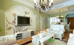 金浩仁和天地107平田园风格三居室装修案例田园客厅装修图片