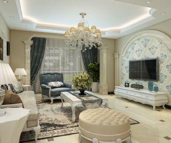 蔚蓝卡地亚港式风格案例-客厅装修效果图-八六(中国)
