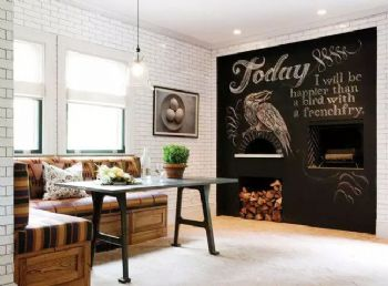客厅涂鸦黑板墙创意设计欣赏现代餐厅装修图片