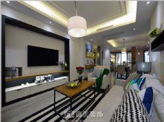 瀚林美筑-三居室-126㎡-都市简约风格实景图现代客厅装修图片